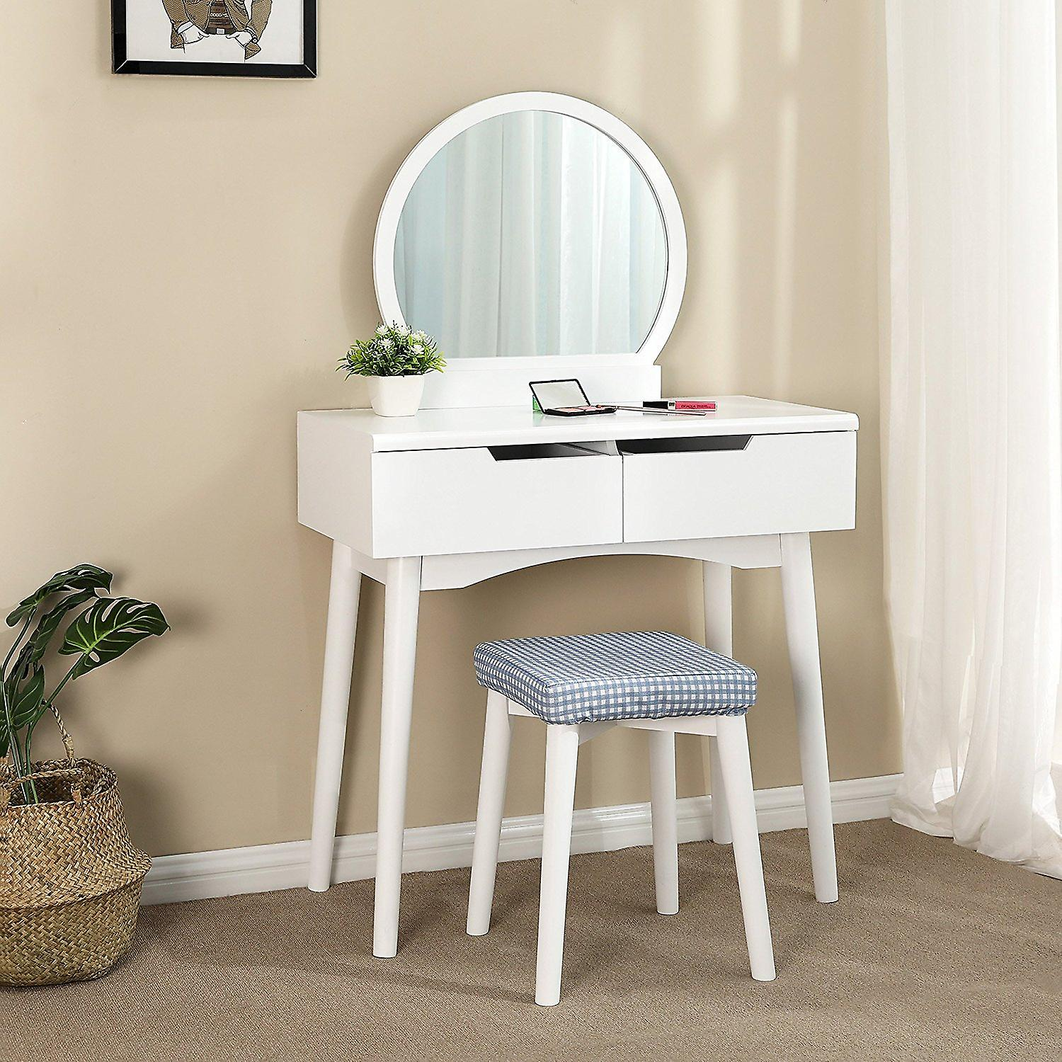 Modern vanity table with mirror and stool