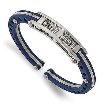 In acciaio inox lucido PVC accenti blu PVC incernierato Bangle Bracciale