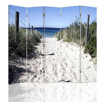 Room Divider, 5 Panels, Double-Sided, Rotatable 360, Canvas, Path Dunes