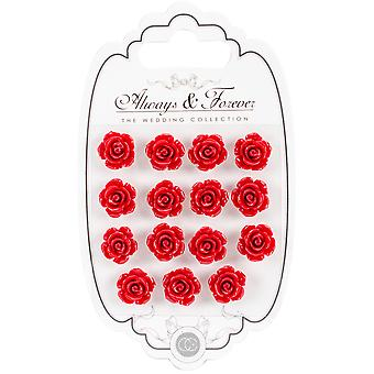 Craft Consortium Always & Forever Resin Flowers 15/Pkg-Rose Red AFRFL008