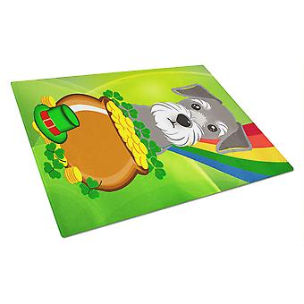 Schnauzer St. Patrick's Day Glass Cutting Board Large BB1950LCB