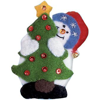 Snowman & Tree Ornament Felt Applique Kit-3