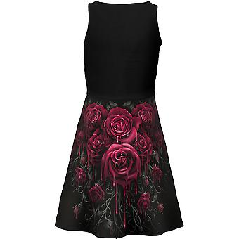 Spiral Direct Gothic BLOOD ROSE AO - Mesh Layered Midi Skater Dress|Roses|Blood|Gothic
