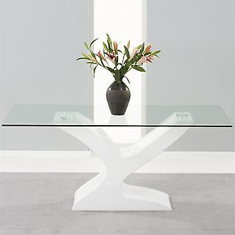 Mark Harris Natalie 180cm White Gloss and Glass Dining Table