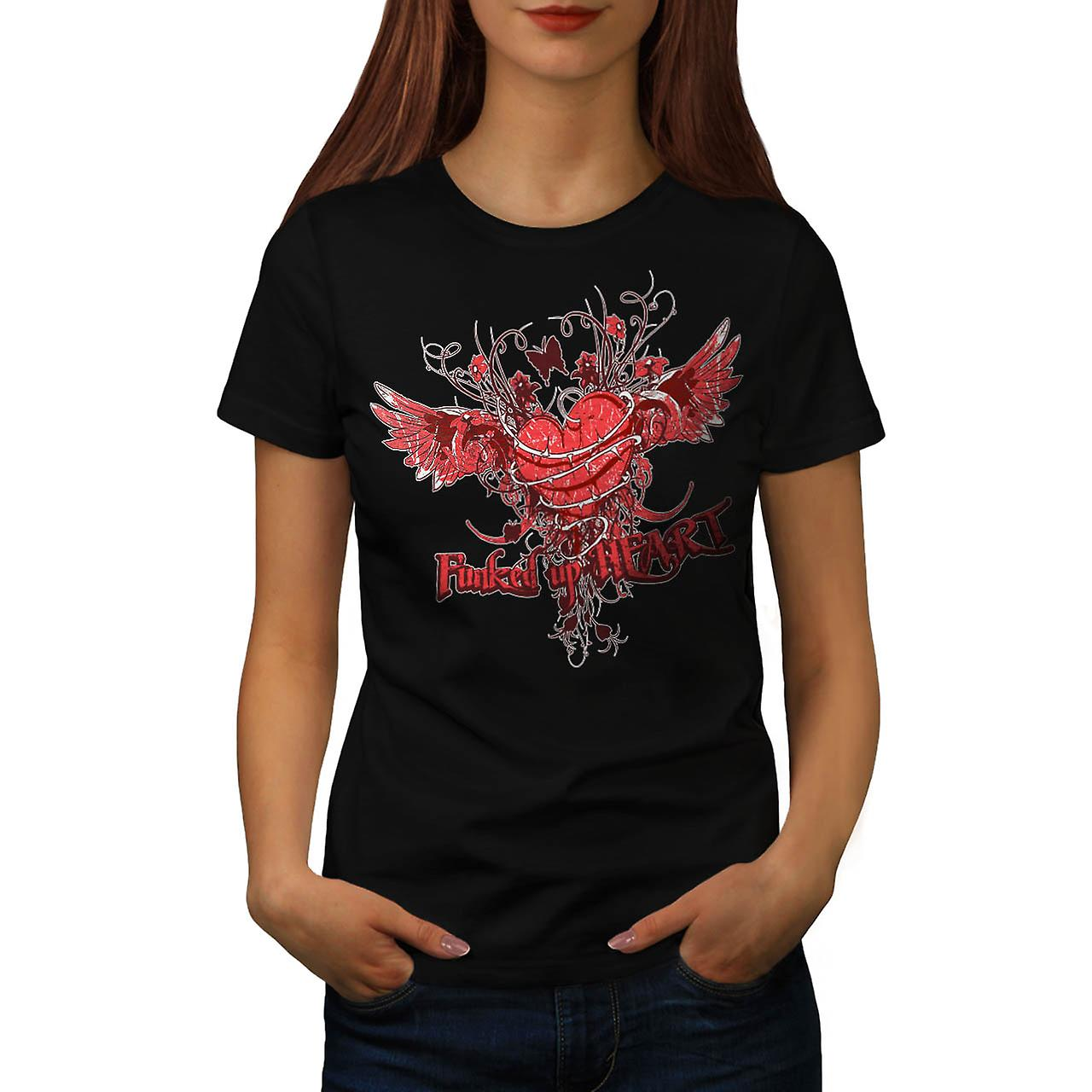 Funked Up cuore amore Thorn Rose t-shirt nera donna | Wellcoda