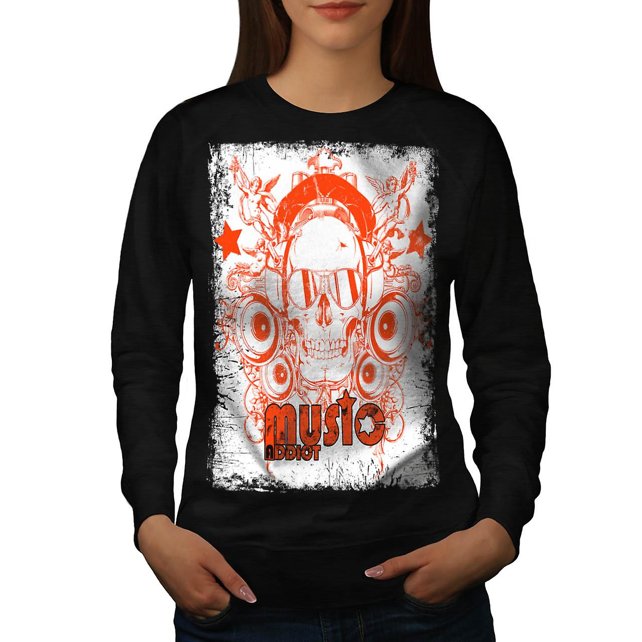 DJ Music Addict Beats Rave Skull Women Black Sweatshirt | Wellcoda