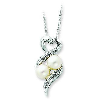 Sterling Silver Polished Gift Boxed Spring Ring Rhodium-plated Freshwater Cultured Pearl and Cubic Zirconia Necklace - 1