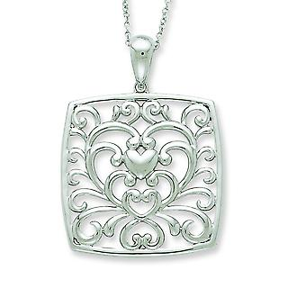 Sterling Silver Antiqued I Care About What You Are Going Through 18inch Necklace - 7.5 Grams