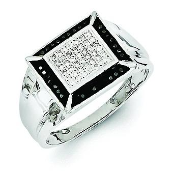 Sterling Silver Rhodium Plated Black and White Diamond Mens Ring - Ring Size: 9 to 11