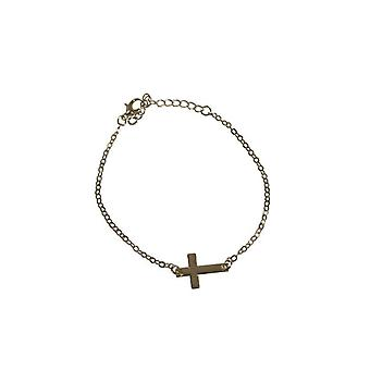 Minimalist statement bracelet with cross silver