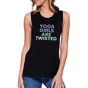 Yoga Girls Are Twisted Black Muscle Tank Top Cute Gym Muscle Tee
