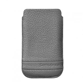 SAMSONITE CLASSIC Mobile bag leather L Gray to tex S2