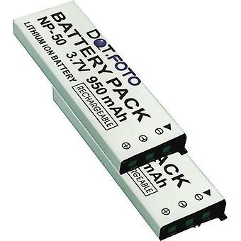 2 x Dot.Foto Casio NP-50 substituição bateria - 3.7 v / 950mAh