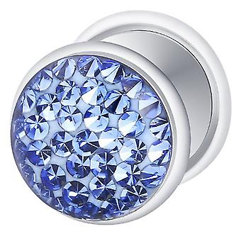 Fake Cheater Ear Plug Silver Plated, Earring, Body Jewellery, with Multi Crystal Sapphire Blue