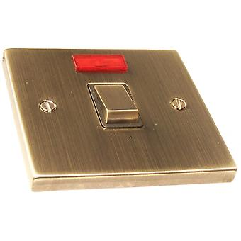 Causeway 1 Gang 20A DP Ingot Switch With Neon, Antique Brass
