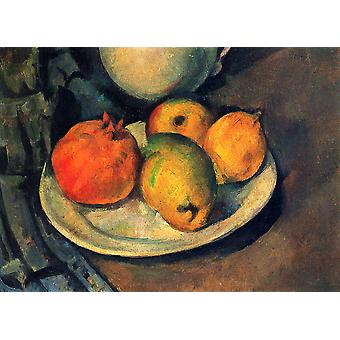Paul Cezanne - Still Life Plate of Fruit Poster Print Giclee