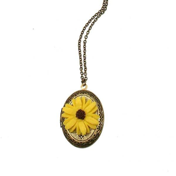 W.A.T Gold Vintage Style Yellow Daisy Locket