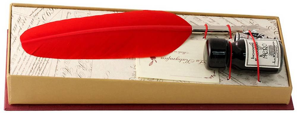 Coles Calligraphy Small Feather Quill and Ink Set  - Red