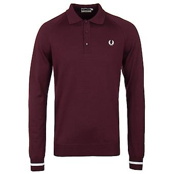 Fred Perry Laurel Wreath Re-issues Aubergine Tipped Long Sleeve Woollen Polo Shirt