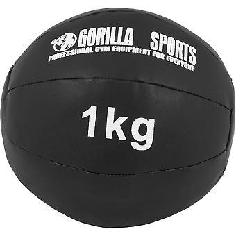 Medizinball aus Leder in Schwarz 1 kg