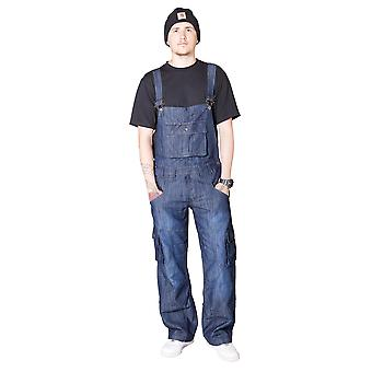 Peviani Dungarees with Turn Up - Dark Blue Mens Womens Denim Dungarees Bib Overa