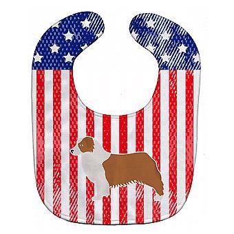 Carolines Schätze BB3333BIB USA patriotischen Australian Shepherd Dog Baby Lätzchen