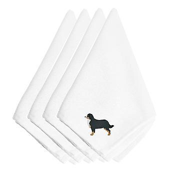 バーニーズ ・ マウンテン ・ ドッグ刺繍ナプキン 4 枚セット