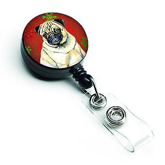 Pug Red and Green Snowflakes Holiday Christmas Retractable Badge Reel