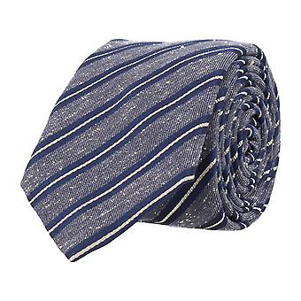 OTTO KERN narrow tie silk silk tie Club tie Navy blue white striped 6.5 cm
