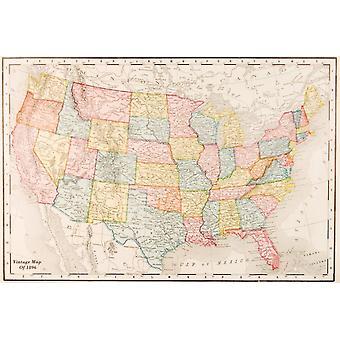 Karta över USA - Vintage 1896 affisch affisch Skriv