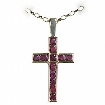 9ct Gold 25x16mm Apostle's Cross set with 12 Rubies with a belcher Chain 16 inches Only Suitable for Children