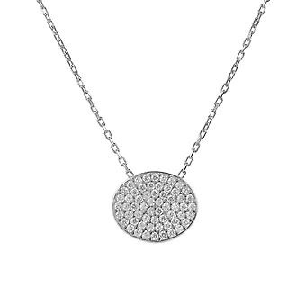 Latelita 925 Sterling Silver Round Oval Disc Circle Delicate Necklace Rose Gold