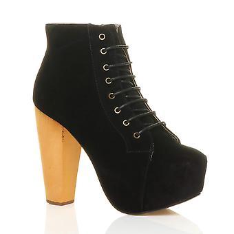Ajvani damskie zasznurować botki platforma drewniany blok wysoki obcas, buty za kostkę