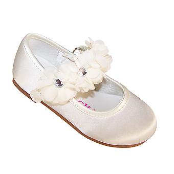 Infants ivory satin flower girl  and special occasion ballerinas