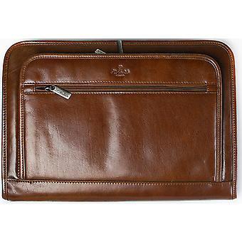 San Babila Grain Leather Zipped Folio A4 Conference Folder Under Arm Document Case
