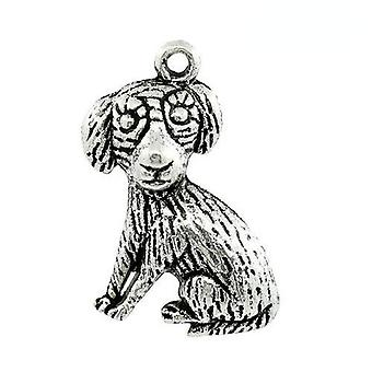 Packet 5 x Antique Silver Tibetan 22mm Dog Charm/Pendant ZX13325