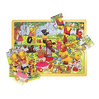 Bigjigs Toys Wooden Chunky Tray Puzzle Teddy's Picnic Educational Learn