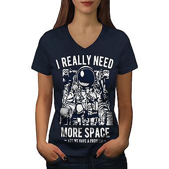 Ich brauche wirklich Frauen NavyV-Neck T-shirt   Wellcoda