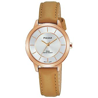 Pulsar Womens Rose Gold Plated Case Tan Leather Strap PH8374X1 Watch