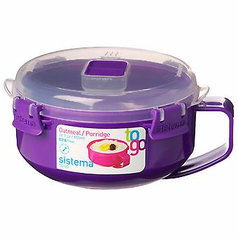 Sistema Klip It Microwave Porridge To Go, 850ml, Purple