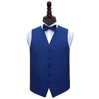 Royal Blue Greek Key Wedding Waistcoat & Bow Tie Set