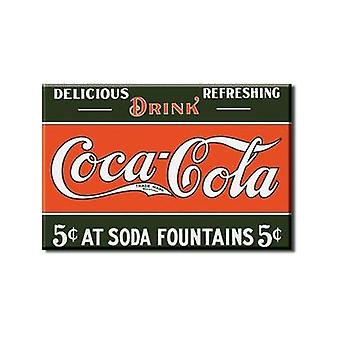 Coca Cola 5C op fonteinen stalen Fridge Magnet