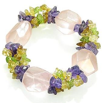 Amulet Healing Faceted Rose Quartz Crystal with Peridot Citrine Amethyst Chips Powers Bracelet