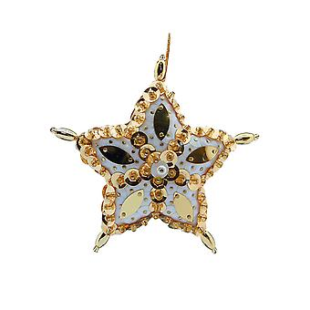 Pinflair Sequin & Pin Christmas Gold Star Bauble Ornaments - Makes 2