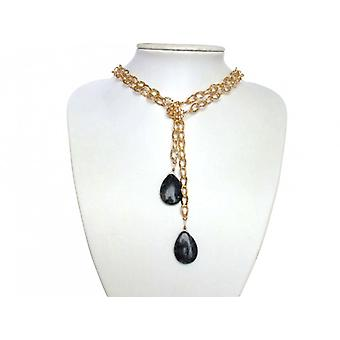 Gemshine - ladies - necklace - Lariat - gold plated - Labradorite - drops - grey - 100 cm