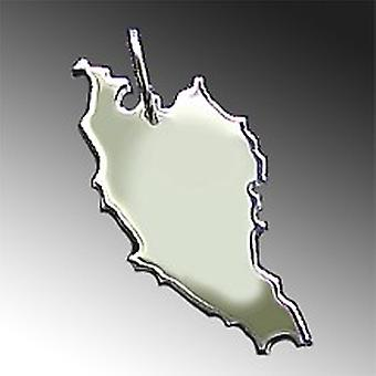 Trailer map MALAYSIA pendant in solid 925 Silver
