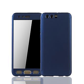 Huawei honor 9 móveis caso proteção caso completo tanque proteção vidro de tampa azul