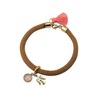 Rosa - las mujeres marrón - pulsera - chapado en oro - piedras preciosas - cuarzo rosa - Angel-