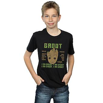 Marvel Boys Guardians Of The Galaxy Vol. 2 Groot Skills T-Shirt
