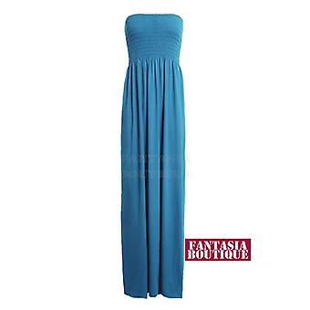Ladies Summer Sheering Gathered Boobtube Bandea Strapless Long Maxi Women's Dress